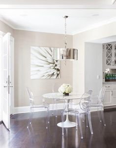 Susan Glick Interiors Interior Designers & Decorators #Modern Dining Room #Lucite Dining Chairs #White Round Dining Table Style Transitional Location Greenwich, New York