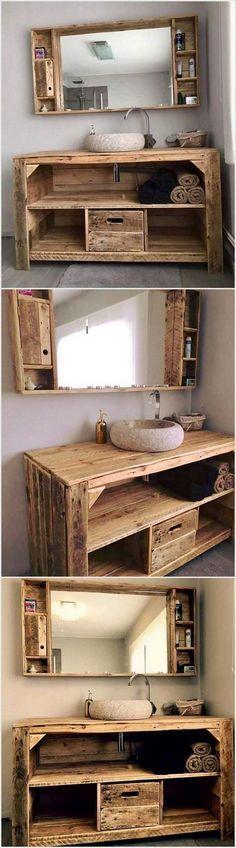 Wood Pallet Sink Project #woodenpalletfurniture #palletfurnituretable
