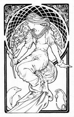 Dessin Vrouw Art Nouveau (-stijl): Tekening-Kleurplaat-Patroon-Prent *Drawing-Colouring Picture-Pattern