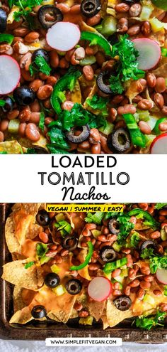 This vegan loaded nachos recipe is made with tomatillos and nut-free vegan queso cheese sauce. It's easy to make and is perfect as an appetizer or a meal! #vegannachos #veganmexican Appetizers For A Crowd, Healthy Appetizers, Appetizer Recipes, Dinner Recipes, Queso Cheese, Cheese Sauce, Cashew Cheese, Vegan Queso Dip, Tomatillo Recipes