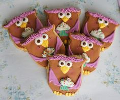 Owls with cupcakes cookies!
