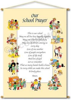 Our School Prayer Banner or Foamex Board - border artwork by Gunvor Edwards, customisable with your school's prayer or mission statement, and your school's name. Visit our website to see full details and our full range of schools banners, foamex boards and posters.