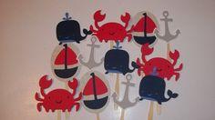 Set of 24 Nautical Theme Cupcake Toppers, Nautical Diaper Cake Decor, Nautical Theme Birthday, Party Decor, Anchor, Whale, Crab, Sailboat