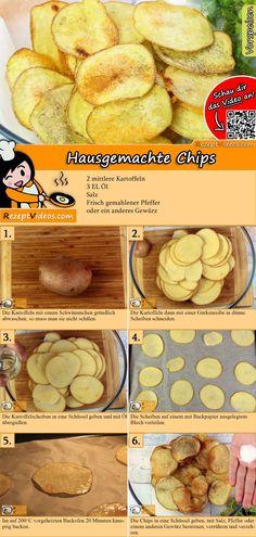 Chips kann man leicht selbermachen!  Das Hausgemachte Chips  Rezept Video findest du mit Hilfe des QR-Codes ganz leicht :) #chips #Kekse #Kleingebäck #Backrezepte #Kuchen #DessertRezept #Dessert #Nachtisch #Gäste #RezeptVideo #RezeptVideos #Rezept