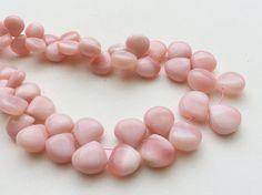 Pink Opal Plain Heart Beads Peruvian Pink Opal by gemsforjewels
