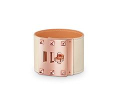 "Extreme Hermes leather bracelet (size L) Chalk swift calfskin  Rose gold plated hardware, 7.5"" circumference, 2.7"" diameter"