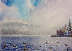 Original watercolor Painting Art Aceo Collectible Card / Foggy Lake Aceo Art #Realism