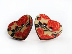 Floral Heart Button Earrings  Rose Wooden Earrings  by FlosCaeli, $9.99