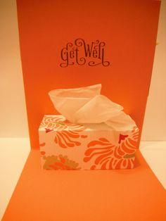 Card tutorial for tissue box pop up 'Get Well'. Cardstock: x folded at thinner paper for tissue box- x circle punch Pop Up Cards, Cute Cards, Diy Cards, Kirigami, Card Making Inspiration, Making Ideas, Tarjetas Diy, Up Book, Get Well Cards