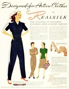 Designed-for-action clothes by Realsilk, 1942. And war work...