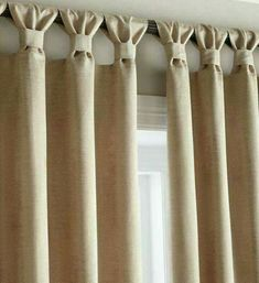 Tab curtains - a little different - Diy Crafts for The HomeEasy stylish update to tab top curtains, classy finishLots of people know just how crucial it is to have lovely kitchen curtains as decor in your home. Possibly if you spend sufficient time i Tab Curtains, Home Curtains, Curtains With Blinds, Kitchen Curtains, Sewing Curtains, Burlap Curtains, How To Make Curtains, Valances, Rideaux Design