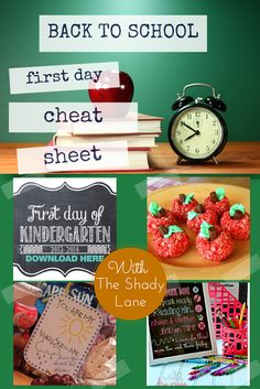 Back to school cheat sheet - Plan the perfect day overnight! For those of us who are less than prepared for the big day, come print out some photo props and school lunch notes, make some sweet treats and pull together a last minute teacher gift in no time!