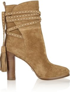Tasseled Suede High Heeled Ankle Boots