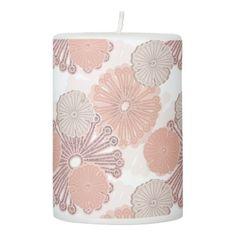 Rose Gold Flower Pattern Pillar Candle