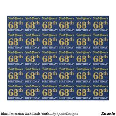 """Shop Blue, Imitation Gold Look BIRTHDAY"""" Wrapping Paper created by AponxDesigns. Personalize it with photos & text or purchase as is! Wrapping Paper Crafts, Wrapping Paper Design, Custom Wrapping Paper, Paper Craft Supplies, 80th Birthday, Birthday Gifts, Birthday Greeting Cards, Customized Gifts, Diys"""