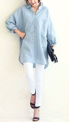 Perfect for your look in this cool and casual oversized linen shirt. Main fabric: Linen and Cotton Hijab Fashion, Fashion Outfits, Piece Of Clothing, White Clothing, Elegant Outfit, Windbreaker Jacket, Wide Leg Pants, Shirt Outfit, Fashion Online