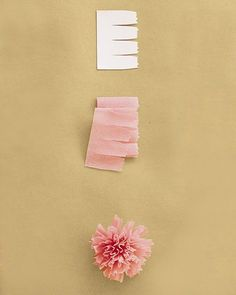 Use three strips of petals (get the template below), each 12 inches. Tightly pleat bottom edge of one strip, then wrap it firmly around itself, keeping bottom edge aligned. Secure with floral tape. Repeat with other strips. Tape bases of rolled strips to the end of a plain floral wire and to one another, wrapping tape down stem. Pull petals outward to create a dome.Get the Carnation Petal Template