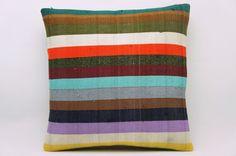 16x16 Vintage Hand Woven Kilim Pillow 818  white,red,yellow,dark green,lilac,beige,navy blue,black,striped