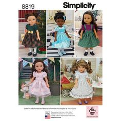 8819 Simplicity 14 Inch Doll Clothing Sewing Pattern Hearts for Hearts Wellie Wishers Glitter Girls Doll Clothes Patterns, Doll Patterns, Clothing Patterns, Pattern Ideas, Wellie Wishers Dolls, Dressmaking Fabric, Glitter Girl, Simplicity Sewing Patterns, Doll Dresses
