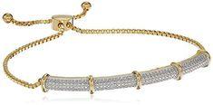 Round Natural Diamond Aceent Sterling Silver Cluster Adjustable Bolo Bracelet #OmegaJewellery #Cluster