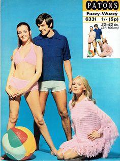PDF Vintage Womens Ladies Bikini Poncho Knitting Pattern like Poncho Knitting Patterns, Knitted Poncho, Easy Knitting, Crochet Patterns, Crochet Bikini, Knit Crochet, Scooter Girl, Skater Girls, Vintage Knitting