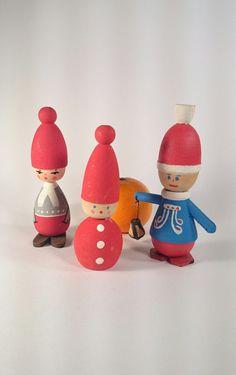 Vintage Handpainted Swedish Tomte Figurines by KilluVintageCraft