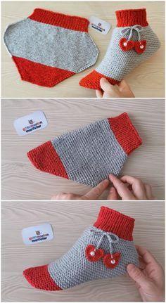 Crochet Boot Socks, Knitted Slippers, Knitting Socks, Knitting Machine, Knitting Needles, Easy Knitting, Knitting For Beginners, Knitting Patterns Free, Knitting Tutorials
