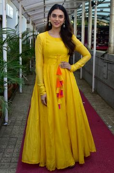fency and uniqae yellow gown with full sleeve buy online shopping at dwe will fashion Kurti Designs Party Wear, Kurta Designs, Blouse Designs, Indian Designer Outfits, Indian Outfits, Designer Dresses, Frock For Women, Indian Gowns Dresses, Anarkali Dress