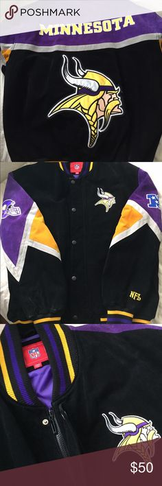 Authentic MINNESOTA VIKINGS NFL Jacket Suede, zipper & snap button closure, fully lined. Some discoloration underside of both arms. Other than that in good condition NFL Jackets & Coats Bomber & Varsity