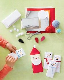 Simply rewrap store-bought chocolate bars to make these cheerful little confections. Put your littlest elves to work making the fingerprint-stamped faces.