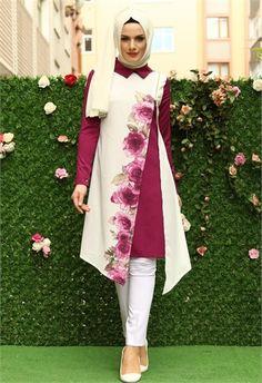 Aysima Çapraz Fermuarlı Baskılı Tunik Mürdüm 9535 Islamic Fashion, Muslim Fashion, Modest Fashion, Fashion Dresses, Mode Batik, Stylish Hijab, Hijab Style, Muslim Dress, Batik Dress