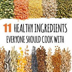 Wheat germ, coconut oil, nutritional yeast, tempeh, flax seeds, miso, liquid aminos, chia seeds, seitan, sun butter, quinoa.