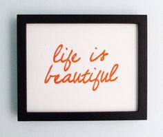 TYPOGRAPHY PRINT  Cheerful Optimistic  Life Is by inkstomp on Etsy, $19.00