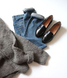 classics... grey sweater . jeans . black loafers