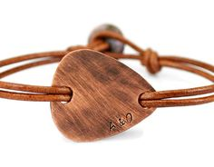 Men's Personalized Rustic Copper Guitar Pick Bracelet.