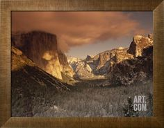 Yosemite Valley at Dusk During Winter, Yosemite National Park, California, USA Photographic Print by Howell Michael at Art.com