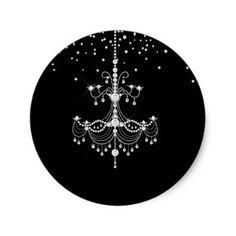 Silver Diamond Glitter Chandelier Sweet 16 Party Classic Round Sticker - bridal gifts bride wedding marriage