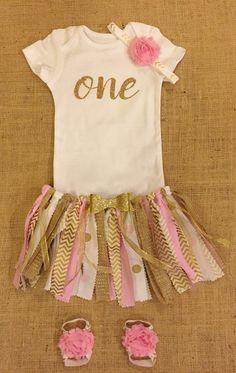First Birthday Outfit, Gold, Fabric tutu, One, Glitter, Shabby chic, Tutu, Onesie, 1st Birthday,