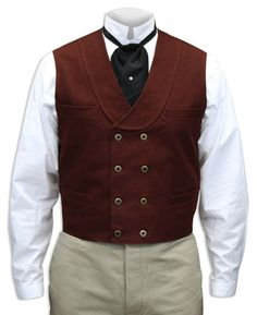 Fancy meets functional in this double-breasted shawl collar vest in durable cotton canvas. Offered in several colors. Steampunk Vest, Steampunk Costume, Steampunk Clothing, Steampunk Wedding, Steampunk Fashion, Gothic Fashion, Steampunk Emporium, Burgundy Vest, Waistcoat Men