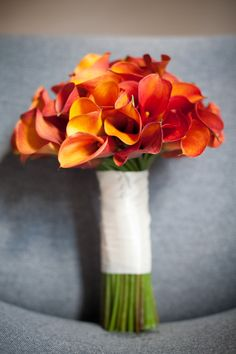 Sunset calla lily bouquet for a fall wedding. I may have just found my bouquet! Lily Bouquet Wedding, Calla Lily Bouquet, Calla Lillies, Fall Wedding Flowers, Orange Wedding, Bridesmaid Bouquet, Philadelphia Wedding, Just In Case, Flower Arrangements