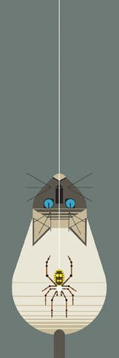 """'Along Came A Spider' -I do like a Charley Harper. Ahhhmahhhhzing aesthetic. Inspiring style. So prolific! This one reminds me of Mitch's cat, """"Scusa Mia"""". Well that's what I call her, she's actually called 'Scuze Me. Yes, there is a back story!"""