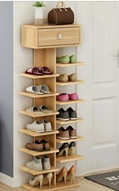 Whichever shoe storage ideas you choose in consider not only their functionality, but also their home decor wow factor.f you love the industrial décor look, this is a great DIY shoe rack to…Daha fazlası Diy Shoe Rack, Wood Shoe Rack, Shoe Shelf Diy, Wood Shoe Storage, Shoe Storage For Front Door, Storage For Shoes, Shoe Storage Ideas Bedroom, Shoe Rack Bedroom, Shoe Storage Modern
