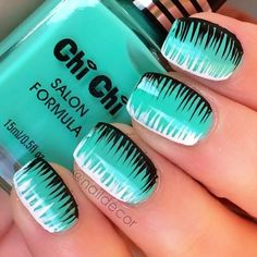 Teal and Black zigzag nails