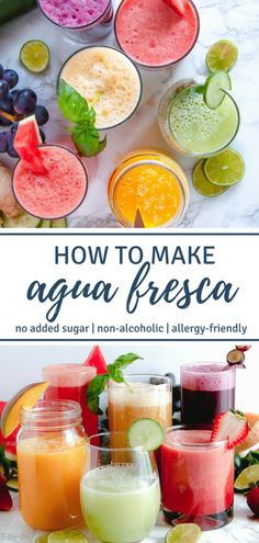Learn how to make agua fresca, a simple, refreshing, non-alcoholic blended drink of fruit, lime, and water. They're great for Cinco de Mayo and warm summertime fun! | #nonalcoholic #drinks #healthyrecipes #noaddedsugar | Nutrition to Fit