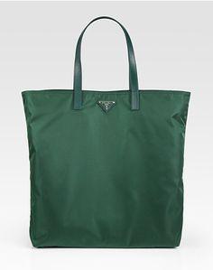 Prada Vela Nylon Tote Bag in Green