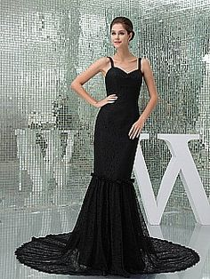 Classy Spaghetti Strapped Trumpet Satin and Lace Evening Dress - USD $203.00