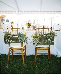 Rustic mrs and mr seat signs @weddingchicks