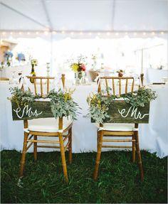 Rustic mrs and mr seat signs @weddingchicks
