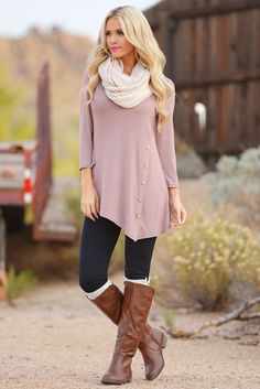 Push My Buttons Tunic - Mocha (Small- 3XL) from Closet Candy Boutique