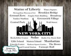 New York Skyline Silhouette Typography- Artwork Decor Wall Subway Art 8x10 11x14 Printable Digital Instant Download Print